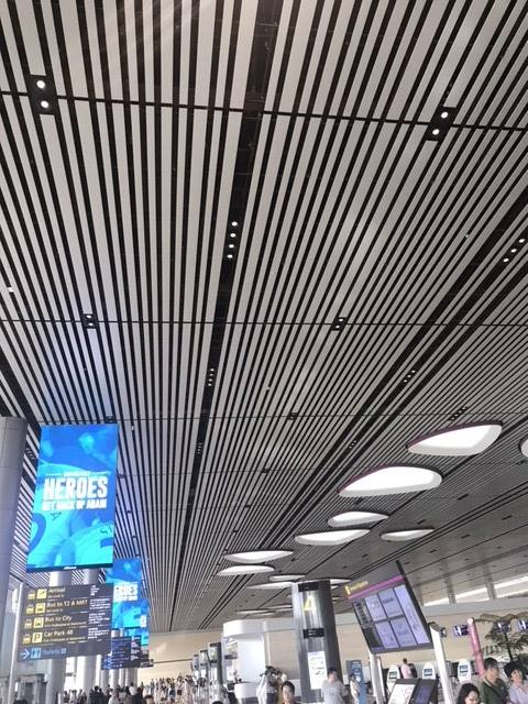 Singapore Changi Airport Terminal 4 is certainly not built to wow the non-traveling visitor. Ordinary and boring low ceiling in the departure concourse.